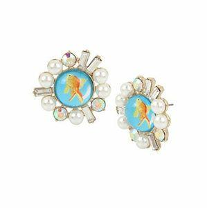 Betsey Johnson Granny Chic Fish Stud Earrings
